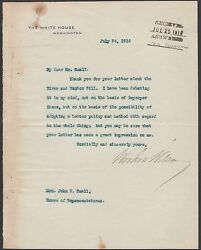 Woodrow Wilson July 1916 Typed Signed Letter On White House Stationary Wlm6511
