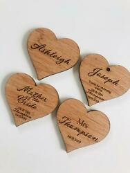 Wood Heart Name Tags Engraved Name Place Setting/personalised/table/party/tags