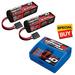 Traxxas 3S 11.1V 6400 25C LiPo Battery (2) w/ EZ-Peak Plus Fast Charger