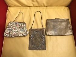 Lot Of 3 Antique Vintage French Micro Bead Purse Embroidered Metal Thread