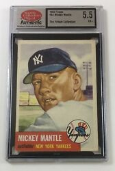 1953 Topps Baseball #82 Mickey Mantle SCD 5.5 EX+ Graded 0062 (VT)
