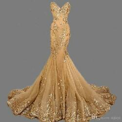 New Mermaid Gold Evening Dress Long Bead Party Prom Pageant Formal Gown $112.99