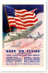 Wwii Keep Em Flying Us Army Air Corps Recruiting World War Ii Poster