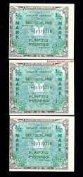 Replacement Notes Germany P-191b 1944 1/2 Mark Amc 3 Consec S Off Center Errors