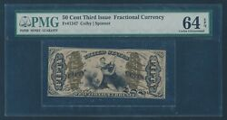 Fr1347 50c 3rd Issue Fractional Currency Pmg 64 Epq Choice Unc Hw4326