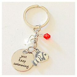 Finding Nemo Dory-Inspired Silver Keychain Just Keep Swimming Gift of Love $10.96
