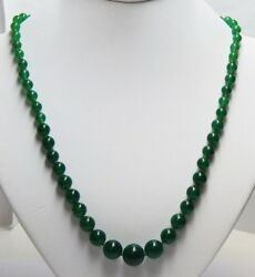 14kt Yellow Gold And Round Graduated Green Jade Jadeite Bead Necklace 20.5 39.3g