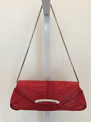 TOD'S GORGEOUS RED TEXTURED LEATHER BAG & CLUTCH SILVER CHAIN & CRYSTALS