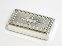 3 1/8 In Sterling Silver Gilded Interior Antique French C. 1890 Ornate Snuff Box