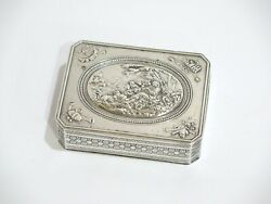 3.25 In - Sterling Silver Antique French Playing Flute Scene Snuff Box
