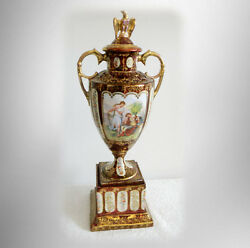 Royal Vienna Style Tall Urn With Gold Designs - Eagle Finial