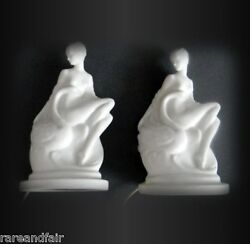 Lenox Pair Of White Lamps - Leda And The Swan - Dated 1929