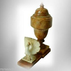 Marble Vintage Table Lamp In Orange Color With Carved Peacock Decoration