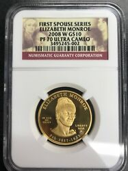 First Spouse Series Elizabeth Monroe 2008-W G$10 PF 70 Ultra Cameo C-1509