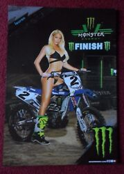 Sexy Girl Dorm Poster Monster Energy Drink Lauren Yamaha Dirt Bike Motorcycle