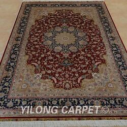 YILONG 6'x9' Persian Handmade Silk Rug Home Decor Oriental Red Carpet 0296