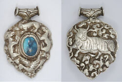 Antique Early 20c. Tibetan Sterling And Turquoise Ram And Bull Amulet Pendant 3