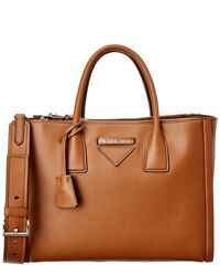 Prada Concept Leather Tote Brown