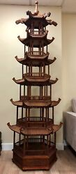 Unique And Majestic Antique Chinese Wood Carved Pagoda - About 8.5 Ft Tall