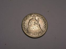 1853/1 O Seated Liberty Half Dime Cracked Die At Date Rare And Attractive