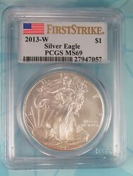 2013-w Burnished American Silver Eagle Pcgs Ms69 First Strike Label