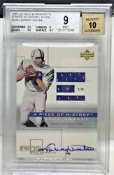 Johnny Unitas 2001 Ud Pros And Prospects Piece O Gu Jersey Autograph Auto 10 Bgs 9