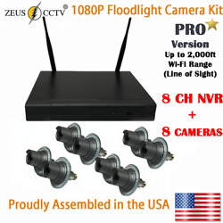 Zeus Cctv Pro Floodlight Camera Standalone Security Kit With 8ch Nvr + 8 Cams
