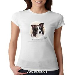 Border Collie Fitted Shirt Puppy Pet Rescue Dog Owner JUNIORS Tee
