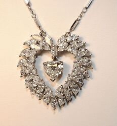 Approx 9.5 Carat Diamond Heart Pendant in white Gold on Chain - $100K Value!