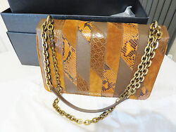 Prada Leather Crocodile and Snake skin patch bag genuine new untouched