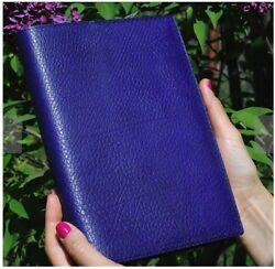 A5 Leather Cover in Blue- Made in Ukraine with Hobonichi Cousin Apr18-Mar19