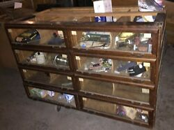 Antique Vintage Wooden Chest Display Case Glass Doors / Drawers Hardware