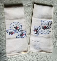 2 Large Linen Towels Embroidered With ScottieScottish Terrier Dogs New Cond.