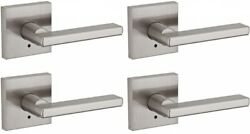 Privacy Bed/bath Door Lever Square Straight Style Satin Nickel Finish 4-pack