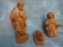 Hand Carved Wood Nativity Set Holy Family Christmas Religious Sculpture Statue