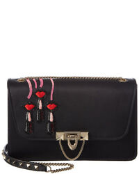 Valentino Demilune Small Double Handle Leather Shoulder Bag Black