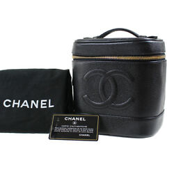 CHANEL CC Vanity Cosmetic Bag Caviar Skin Black Leather Vintage Auth #D52 I
