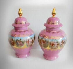 Royal Vienna Pair Large Lidded Urns Deep Pink Color - Gold Accents