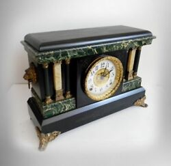 Ingraham Antique Shelf Mantel Clock With Pillars And Lion Head Accents