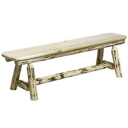 Rustic Log 6 Ft Bench Amish Made Dining Table Benches Lodge Cabin Furniture