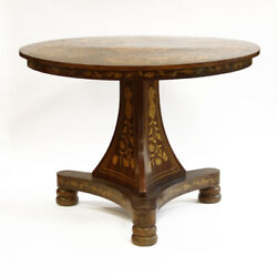 Antique Dutch Baroque Style Mixed Wood Marquetry Center Table