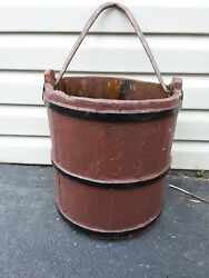 Antique Wood Bucket Forge Cast Iron V Handle Very Old