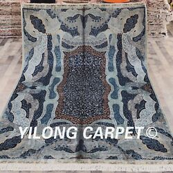 YILONG 6'x9' Persian Handknotted Silk Rug Valuable Home Blue Carpet YWX082A