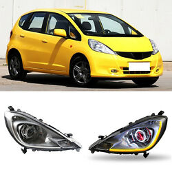 For Honda FitJazz 11-13 Red Halo Projector+Led Light Pipe Headlights  Assembly