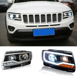 For Jeep Compass 14-15 LED DRL HID Xenon Projector Headlight Lamp+Cornering Lamp