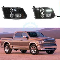 For Dodge Ram 1500 09-12 Car LED Halo Projector Headlight Halogen Cornering Lamp