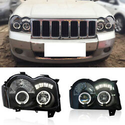 For Jeep Grand Cherokee 08-10 LED Angel Eyes+HID Xenon Projector Headlight Lamps