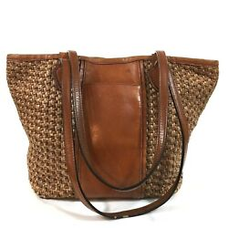Brooks Brothers Purse Leather Bucket Style Handbag Brown Woven Straw Hobo