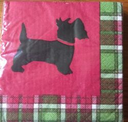 Scottish Terrier Beverage Napkins 3- 20 Napkin Packages PLAID MADE IN USA