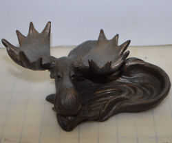 Big Sky Carvers Solid Carved Moose Ashtray Ash Tray - Dish Spoon Rest Holder